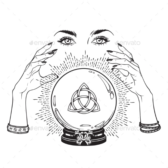 Crystal Ball with Triquetra in Hands of Gypsy - Miscellaneous Vectors