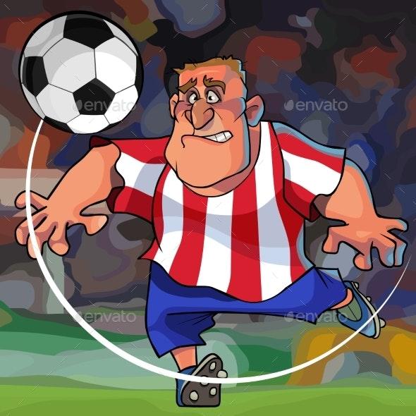 Cartoon Soccer Player Hits the Ball - Sports/Activity Conceptual