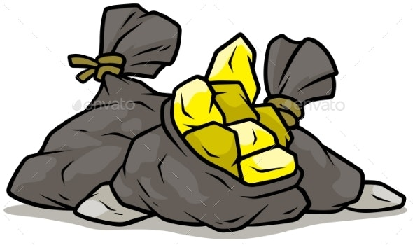 Cartoon Gray Open Bag with Gold - Man-made Objects Objects