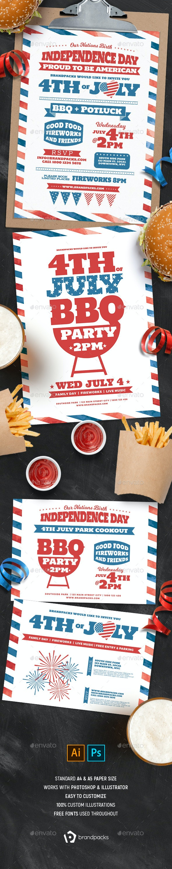 Traditional 4th July Flyer Templates - Holidays Events