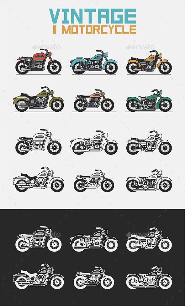 Set of Vintage Motorcycles - Retro Technology