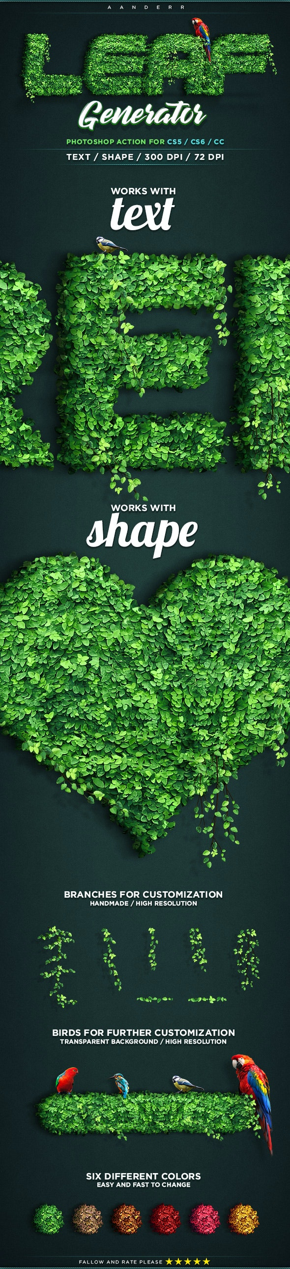 Leaf Generator Photoshop Action - Text Effects Actions