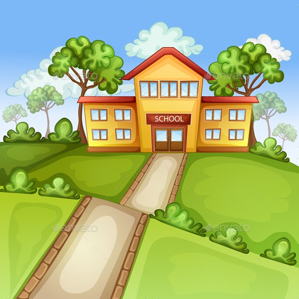 Illustration with School Building - Miscellaneous Characters
