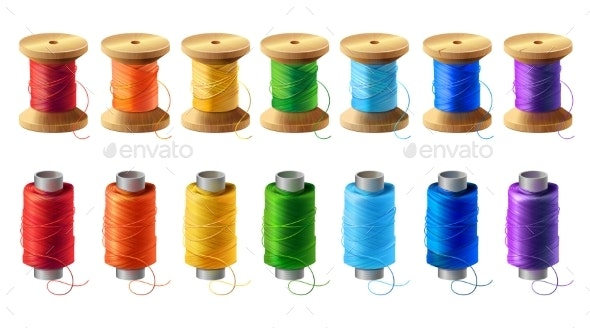 Vector Set of Colored Thread Spools for Sewing - Man-made Objects Objects