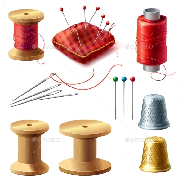 Vector Realistic Tailor Set for Sewing - Man-made Objects Objects
