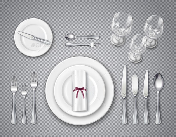Table Setting Transparent Set - Food Objects