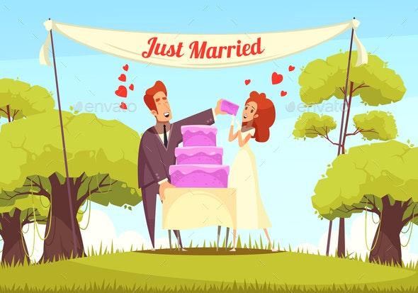 Just Married Cartoon Illustration - Weddings Seasons/Holidays
