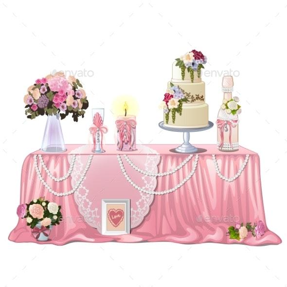 Decorated Table with Wedding Paraphernalia - Weddings Seasons/Holidays