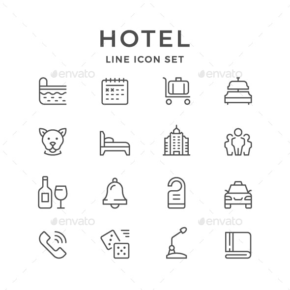 Set Line Icons of Hotel - Man-made objects Objects
