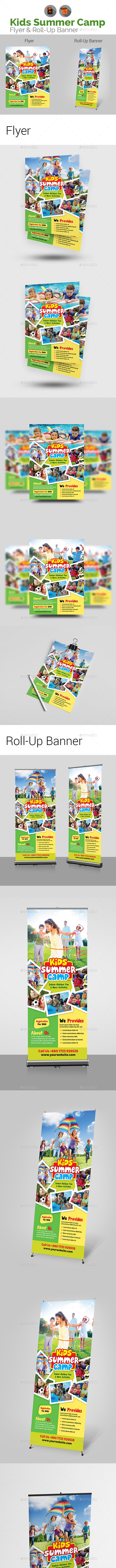 Kids Summer Camp Flyer with Roll-Up Bundle - Corporate Flyers