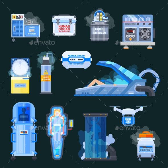 Cryonics Human Organs Transplantation Icons - Health/Medicine Conceptual