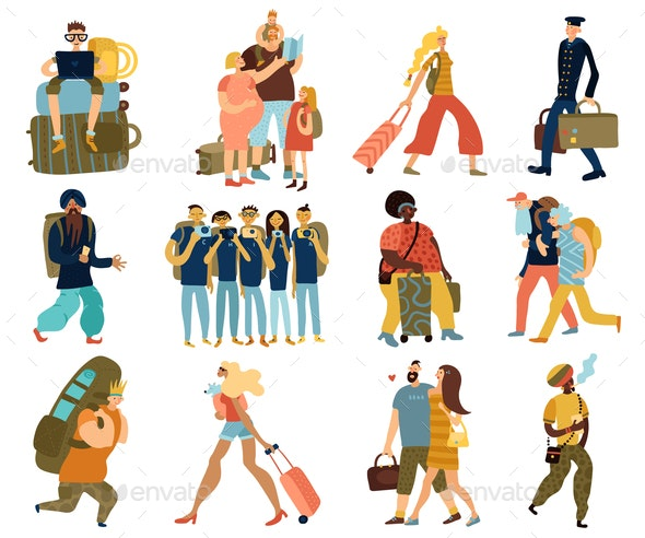 People Trips Isolated Icons Set - People Characters