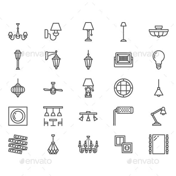 Lamps, Home Lighting Line Icons
