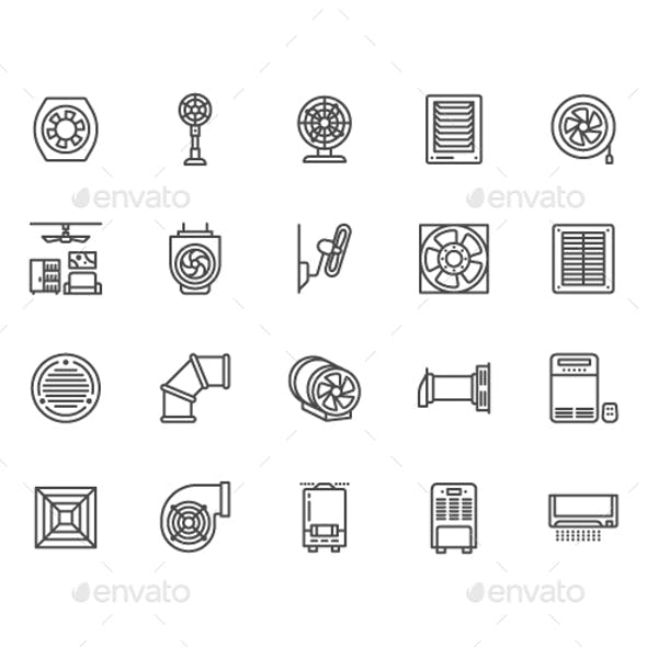 Ventilation Line Icons