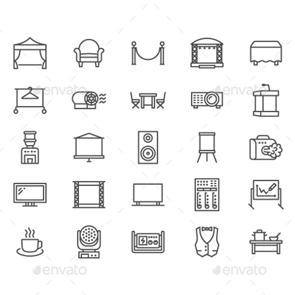 Event Supplies Line Icons