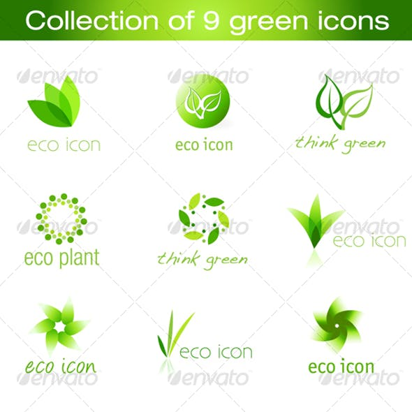 Collection of 9 vector green icons