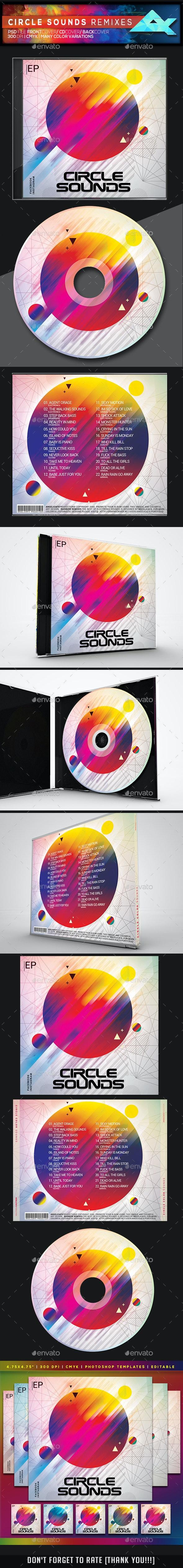 Circle Colorful Sounds CD/DVD Photoshop Template - CD & DVD Artwork Print Templates