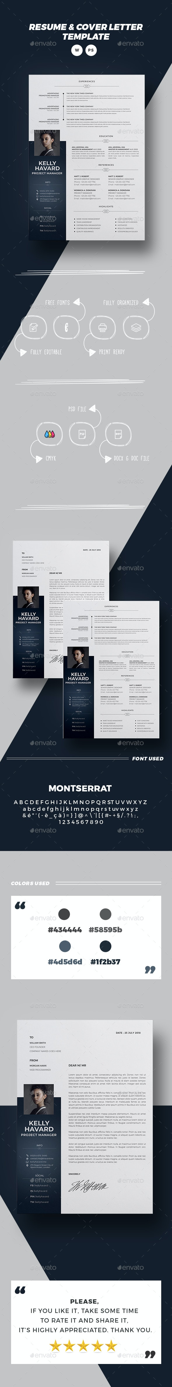 Word Cv/Resume Template - KELLY - - Resumes Stationery