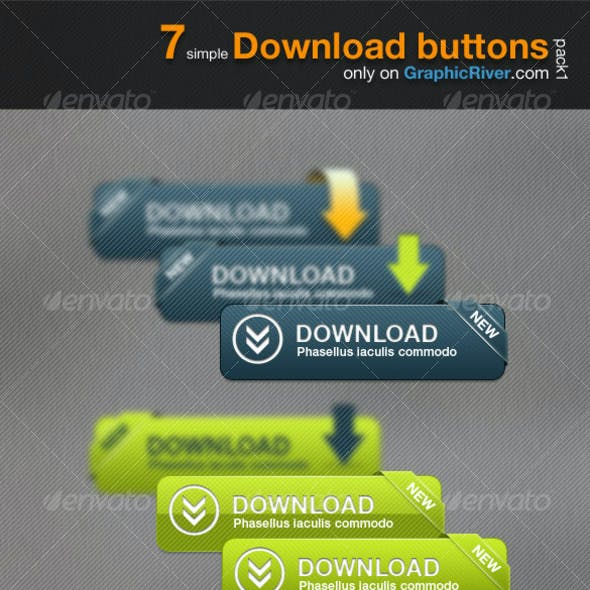 7 simple Download button - Pack 1