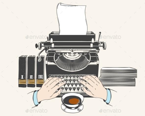 Retro Type Writer Machine - Buildings Objects