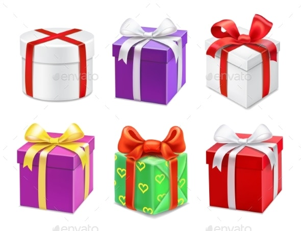 Colorful Gift Boxes with Bows and Ribbons - Miscellaneous Seasons/Holidays
