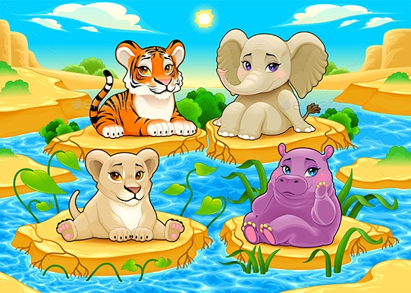 Jungle Animals in a Natural Landscape - Animals Characters