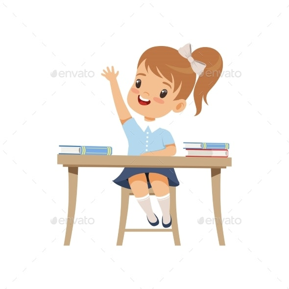 Girl Sitting at the Desk and Rising Her Hand - People Characters