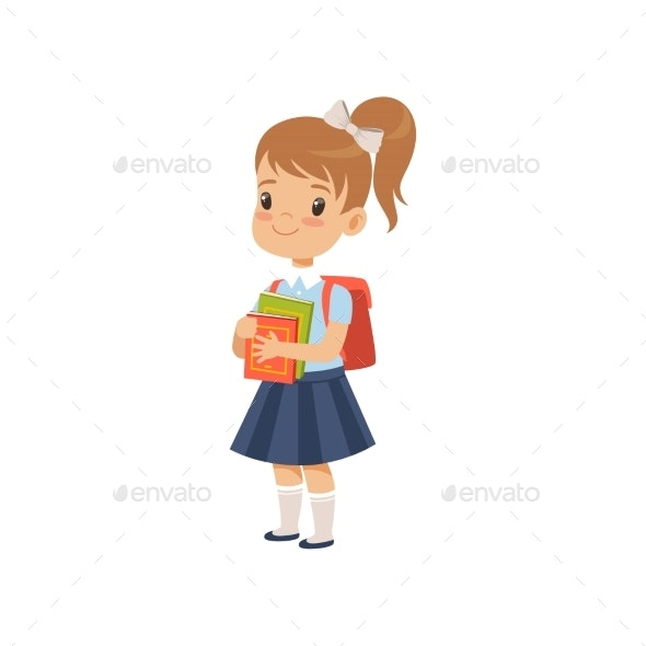 Girl with Backpack Holding Books - People Characters