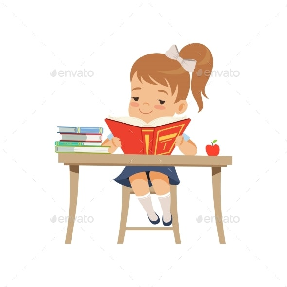 Girl Sitting at the Desk and Reading a Book - Miscellaneous Vectors