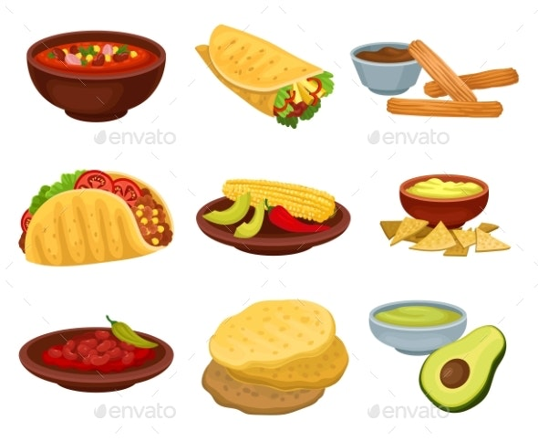 Flat Vector Set of Traditional Mexican Food - Food Objects