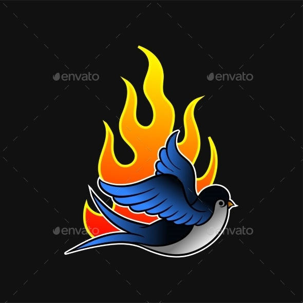 Flying Swallow Bird and Hot Flame - Miscellaneous Vectors