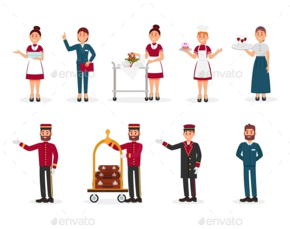 Flat Vector Set of Hotel Staff - People Characters