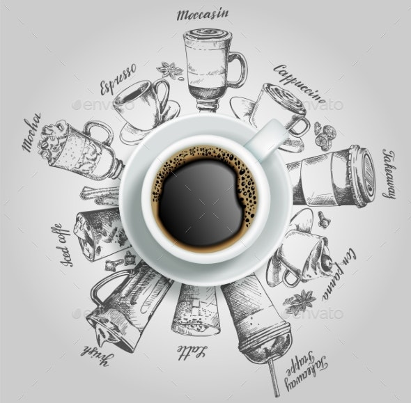 Cup of Coffee with Coffee Drinks - Food Objects