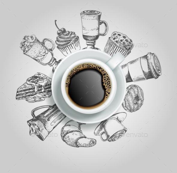 Cup of Coffee with Sweets Vector Creative - Food Objects