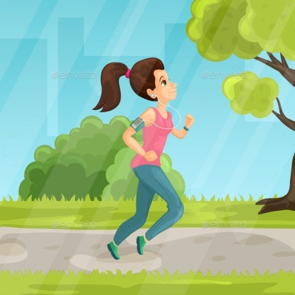 Young Girl Running in the Park Vector Flat - Sports/Activity Conceptual