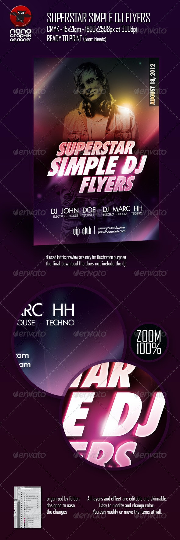 Superstar Simple DJ Flyers - Clubs & Parties Events