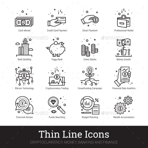 Money, Cryptocurrency, Finance Linear Vector Icons