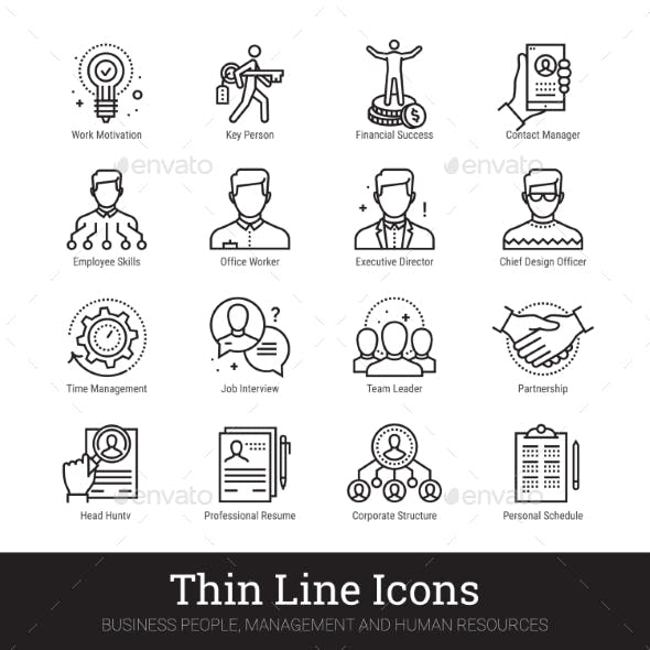 Teamwork, Management, Business People Vector Icons