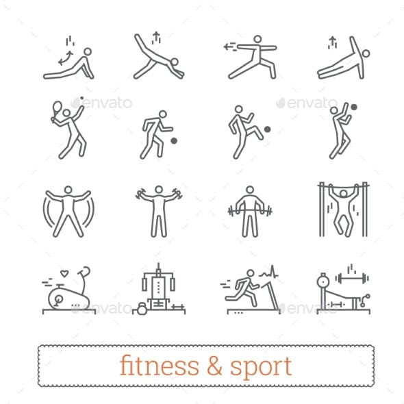 Sport, Bodybuilding, Yoga and Fitness Vector Icons