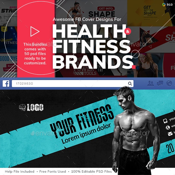 Fitness FB Bundle - 50 Designs - UPDATED!!! by Hyov | GraphicRiver