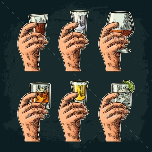Hand Holding Glass with Alcohol - Food Objects