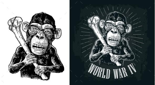 Monkey Holding Tibia - Animals Characters