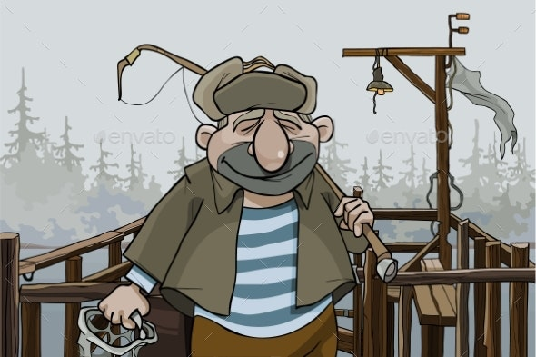 Cartoon Man Fisherman Standing on the Village Pier - People Characters