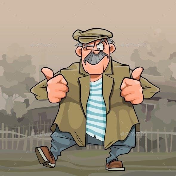Cartoon Mustachioed Rustic Man Dancing