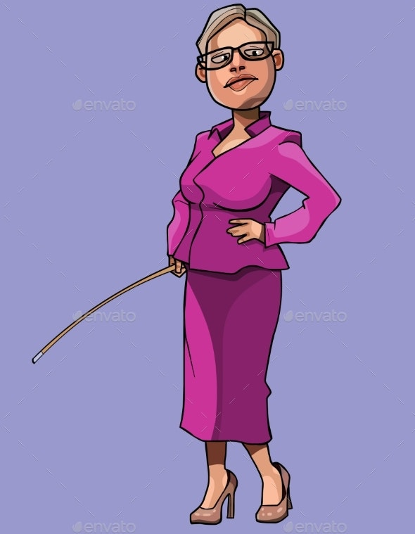 Cartoon Teacher with a Pointer in Her Hand - People Characters