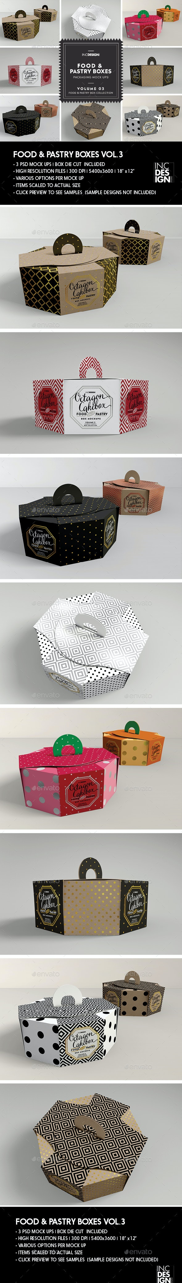 Food pastry Boxes Vol.3: Octagon Cake   Pastry Carrier Take Out Packaging Mockups - Food and Drink Packaging