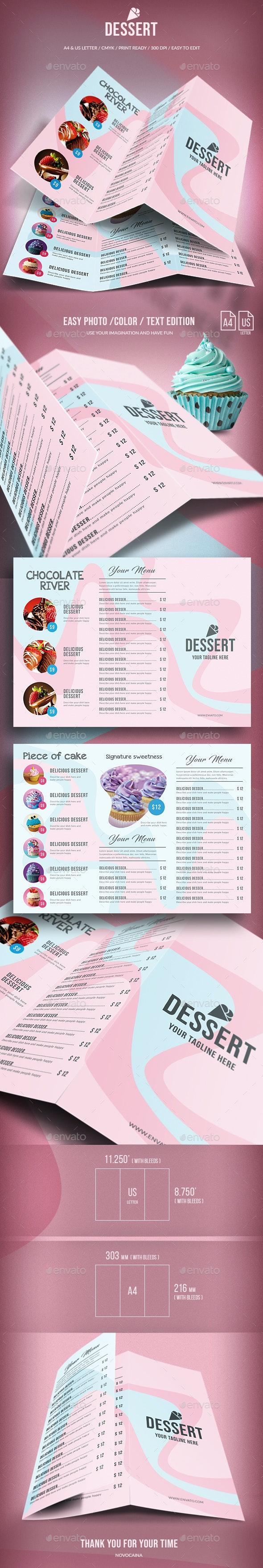 Sweet Dessert Trifold Menu - A4 & US Letter - Food Menus Print Templates