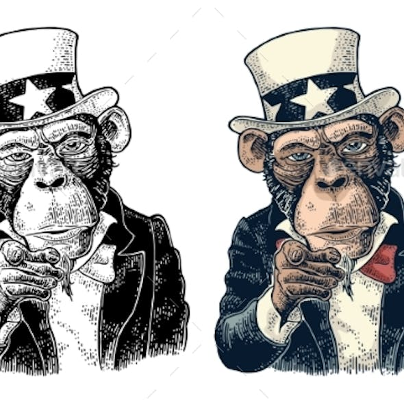 Monkey Uncle Sam with Pointing Finger at Viewer