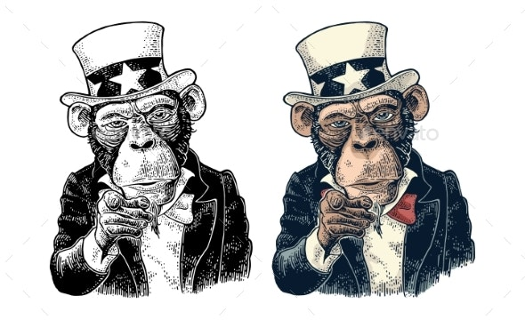 Monkey Uncle Sam with Pointing Finger at Viewer - Animals Characters