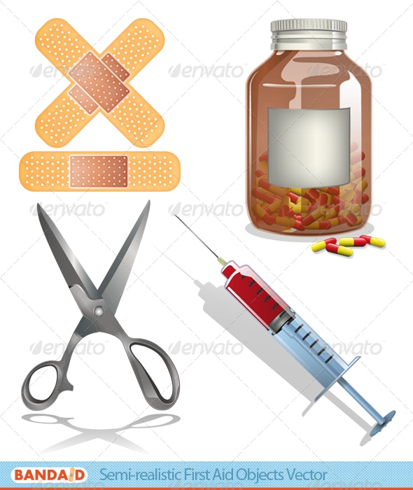 Semi-Realistic First Aid Objects - Health/Medicine Conceptual